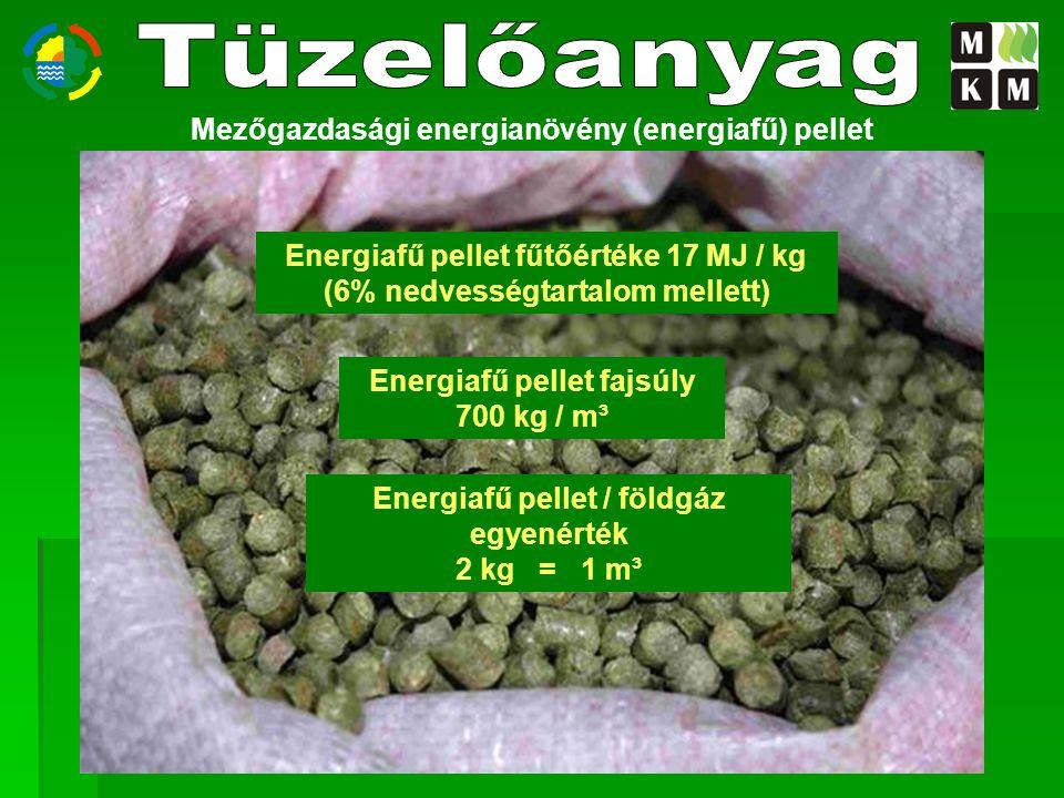 Mezőgazdasági energianövény (energiafű) pellet Energiafű pellet fűtőértéke 17 MJ / kg (6% nedvességtartalom mellett) Energiafű pellet fajsúly 700 kg /