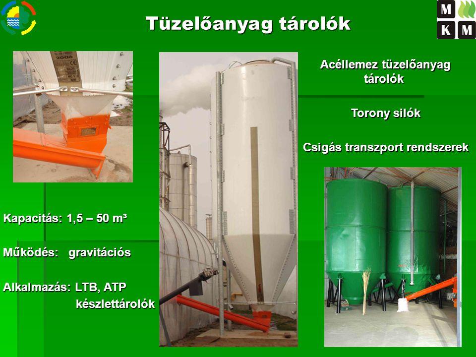 Kapacitás: 1,5 – 50 m³ Működés: gravitációs Alkalmazás: LTB, ATP készlettárolók készlettárolók Acéllemez tüzelőanyag tárolók Acéllemez tüzelőanyag tár