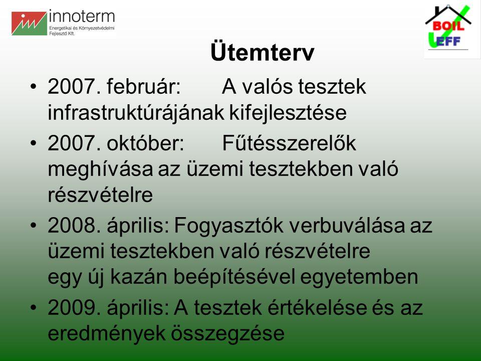 Ütemterv 2007.február: A valós tesztek infrastruktúrájának kifejlesztése 2007.