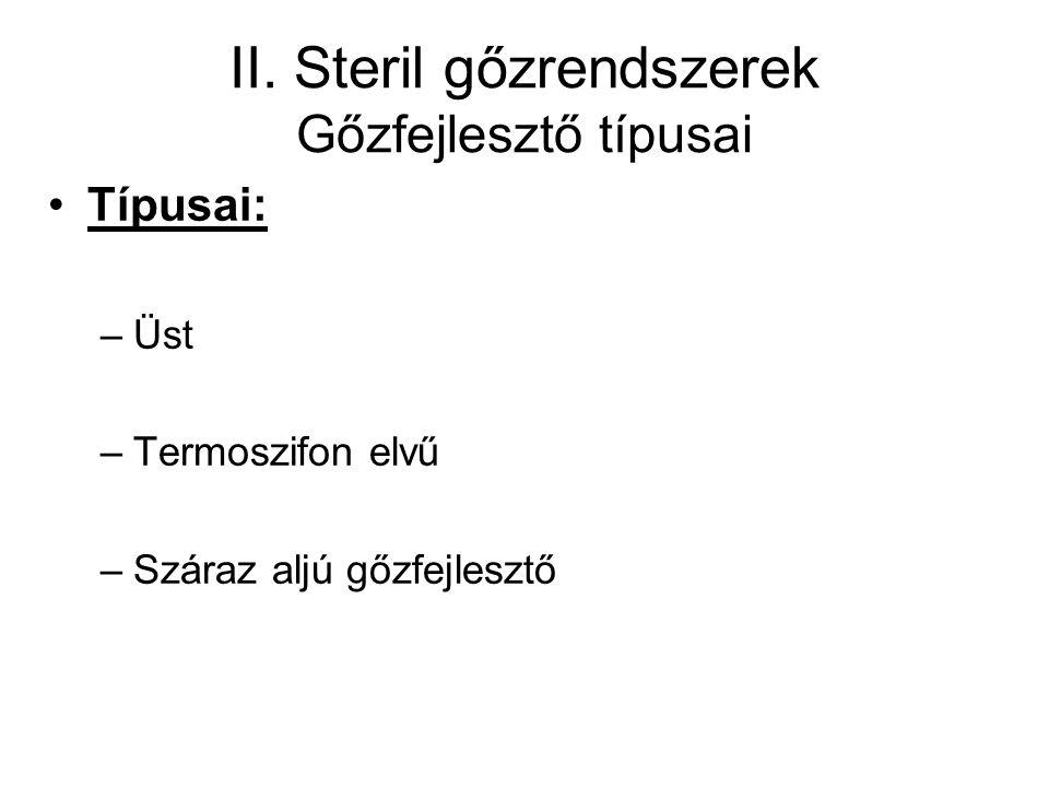 II. Steril gőzrendszerek Gőzfejlesztő típusai Típusai: –Üst –Termoszifon elvű –Száraz aljú gőzfejlesztő