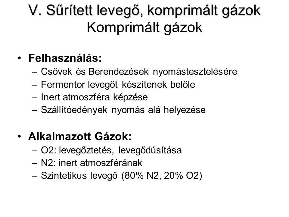 V. Sűrített levegő, komprimált gázok V. Sűrített levegő, komprimált gázok Komprimált gázok Felhasználás: –Csövek és Berendezések nyomástesztelésére –F