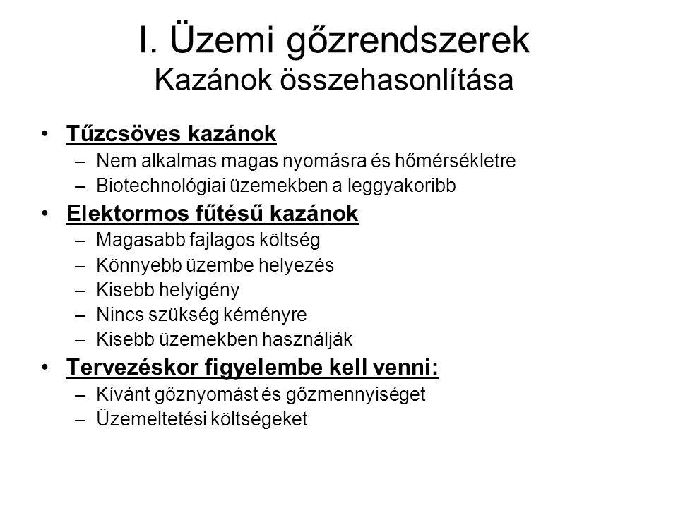 I. Üzemi gőzrendszerek Kazánok összehasonlítása Tűzcsöves kazánok –Nem alkalmas magas nyomásra és hőmérsékletre –Biotechnológiai üzemekben a leggyakor