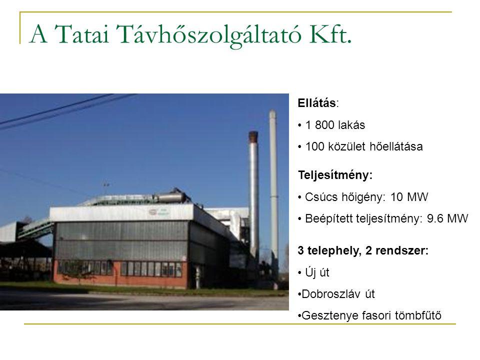 A Tatai Távhőszolgáltató Kft. Ellátás: 1 800 lakás 100 közület hőellátása Teljesítmény: Csúcs hőigény: 10 MW Beépített teljesítmény: 9.6 MW 3 telephel