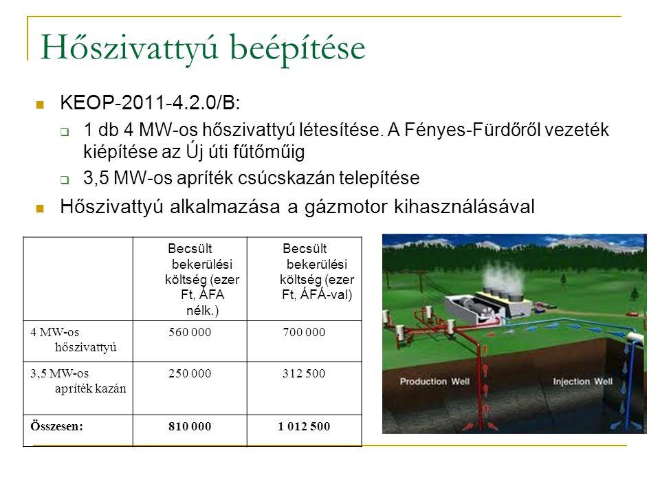 Hőszivattyú beépítése KEOP-2011-4.2.0/B:  1 db 4 MW-os hőszivattyú létesítése. A Fényes-Fürdőről vezeték kiépítése az Új úti fűtőműig  3,5 MW-os apr