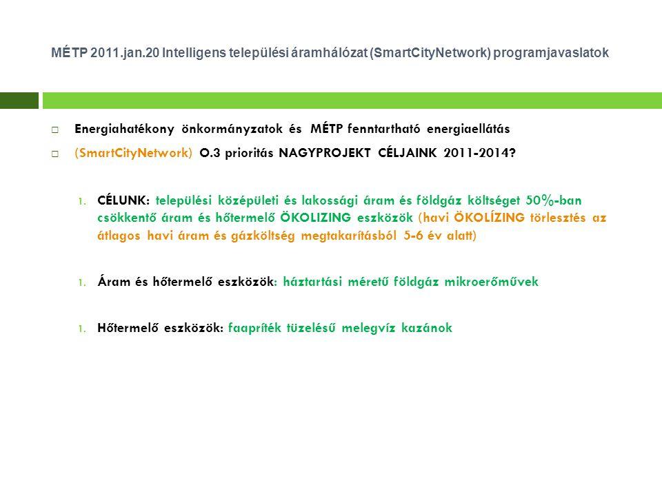 MÉTP 2011.jan.20 Intelligens települési áramhálózat (SmartCityNetwork) programjavaslatok  Energiahatékony önkormányzatok és MÉTP fenntartható energiaellátás  (SmartCityNetwork) O.3 prioritás NAGYPROJEKT CÉLJAINK 2011-2014.