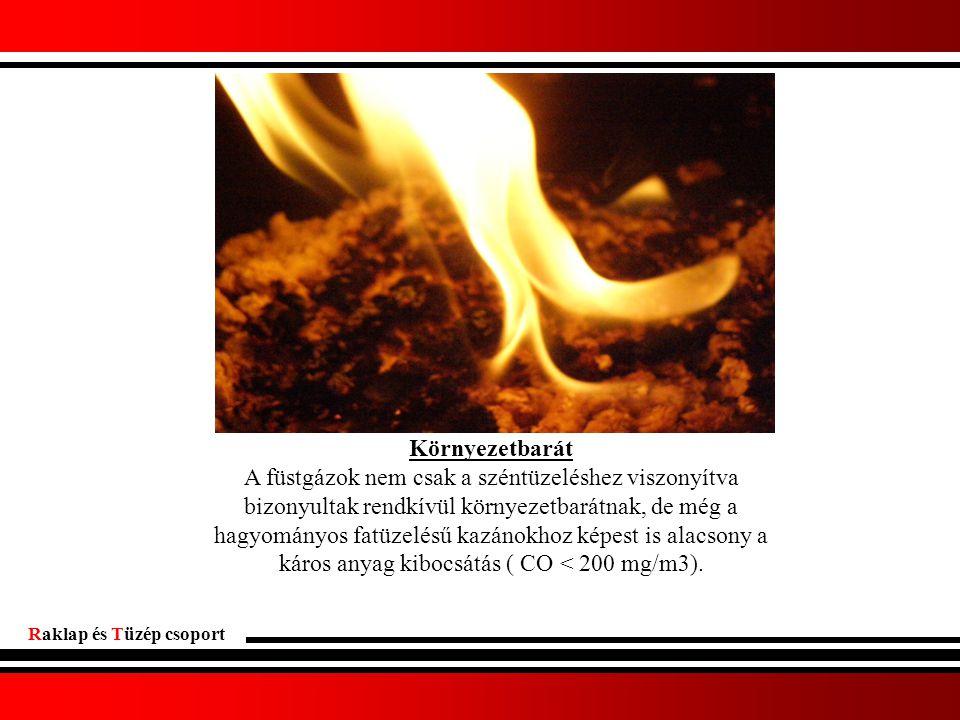 Raklap és Tüzép csoport Környezetbarát A füstgázok nem csak a széntüzeléshez viszonyítva bizonyultak rendkívül környezetbarátnak, de még a hagyományos fatüzelésű kazánokhoz képest is alacsony a káros anyag kibocsátás ( CO < 200 mg/m3).