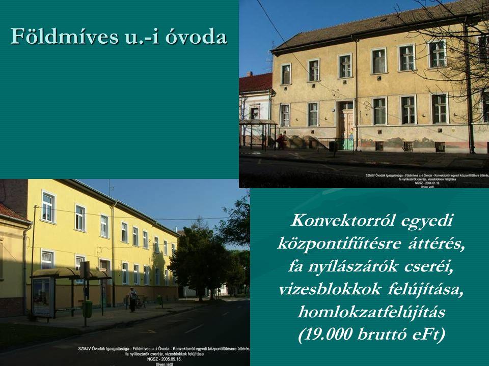 Földmíves u.-i óvoda Konvektorról egyedi központifűtésre áttérés, fa nyílászárók cseréi, vizesblokkok felújítása, homlokzatfelújítás (19.000 bruttó eFt)