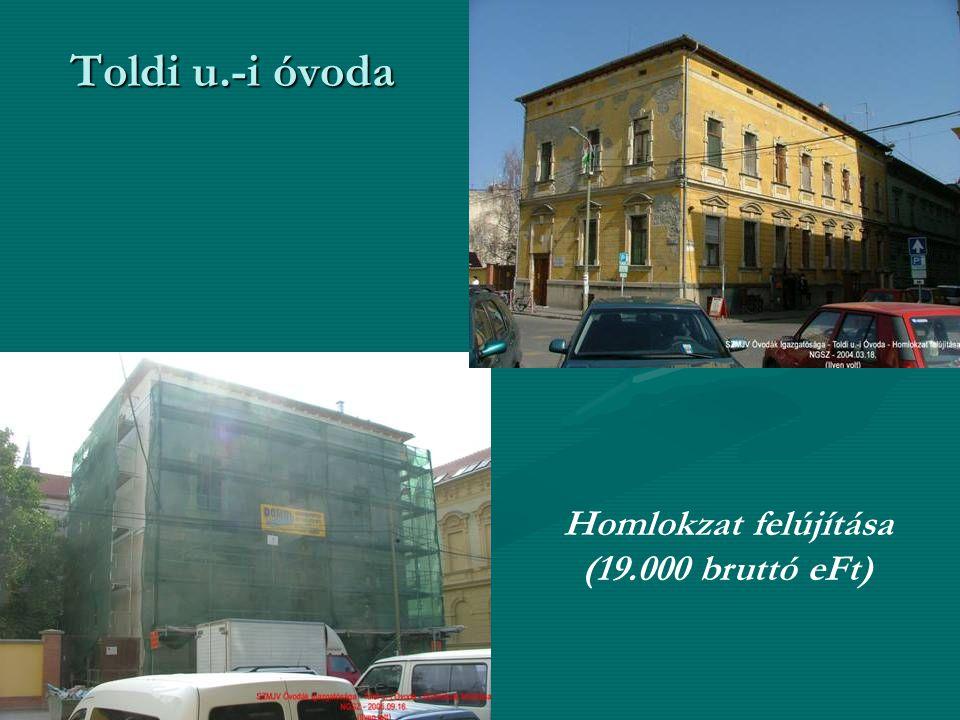 Toldi u.-i óvoda Homlokzat felújítása (19.000 bruttó eFt)