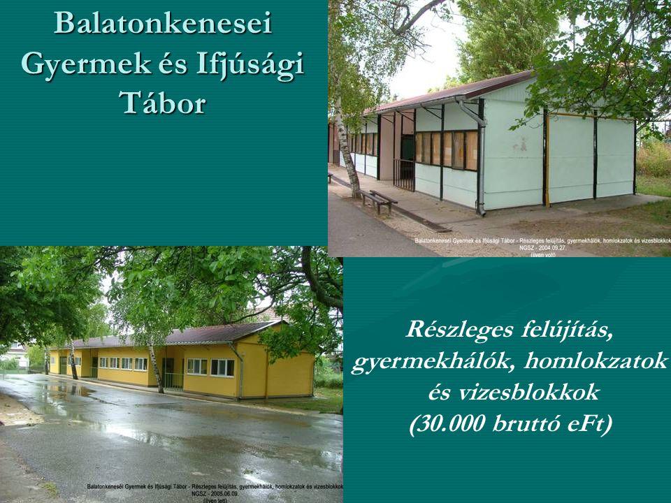 Balatonkenesei Gyermek és Ifjúsági Tábor Részleges felújítás, gyermekhálók, homlokzatok és vizesblokkok (30.000 bruttó eFt)