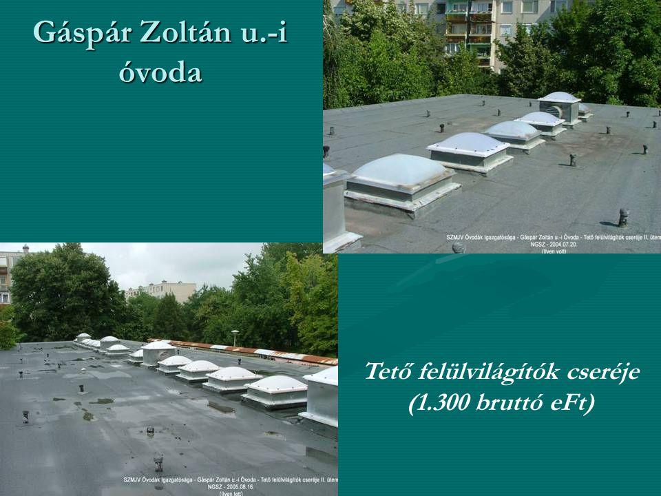 Gáspár Zoltán u.-i óvoda Tető felülvilágítók cseréje (1.300 bruttó eFt)