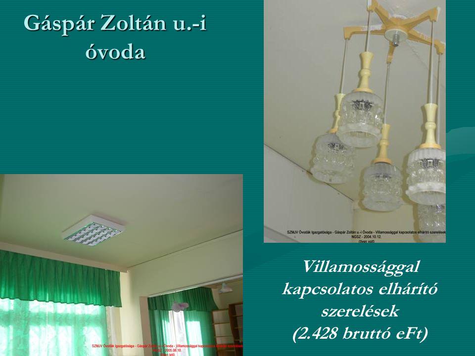 Gáspár Zoltán u.-i óvoda Villamossággal kapcsolatos elhárító szerelések (2.428 bruttó eFt)