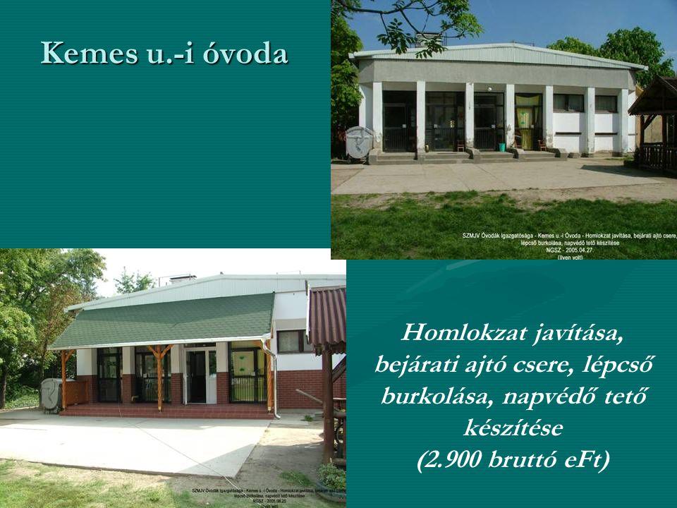 Kemes u.-i óvoda Homlokzat javítása, bejárati ajtó csere, lépcső burkolása, napvédő tető készítése (2.900 bruttó eFt)