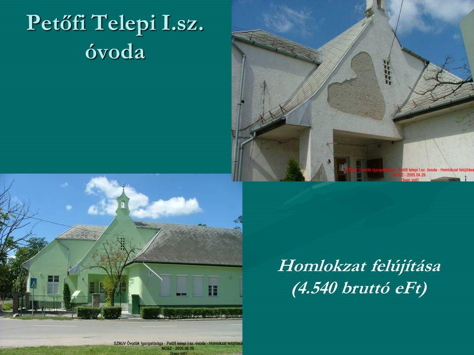 Petőfi Telepi I.sz. óvoda Homlokzat felújítása (4.540 bruttó eFt)