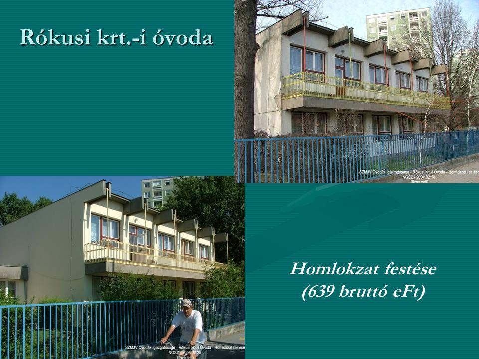 Rókusi krt.-i óvoda Homlokzat festése (639 bruttó eFt)