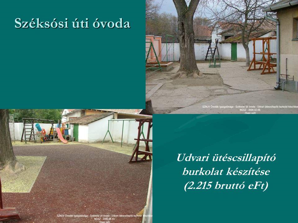 Széksósi úti óvoda Udvari ütéscsillapító burkolat készítése (2.215 bruttó eFt)