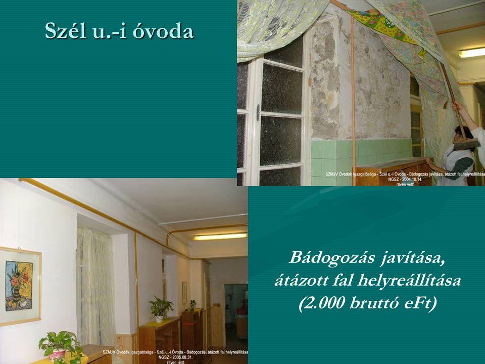 Szél u.-i óvoda Bádogozás javítása, átázott fal helyreállítása (2.000 bruttó eFt)