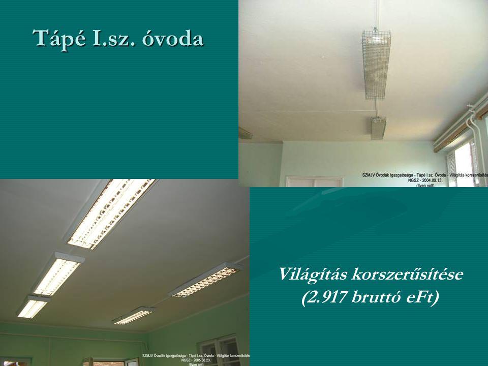 Tápé I.sz. óvoda Világítás korszerűsítése (2.917 bruttó eFt)