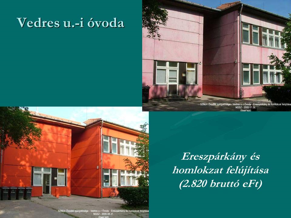 Vedres u.-i óvoda Ereszpárkány és homlokzat felújítása (2.820 bruttó eFt)