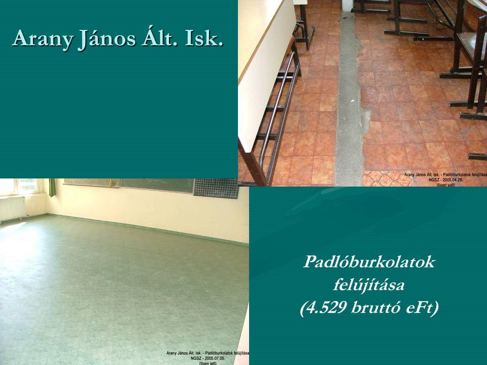 Arany János Ált. Isk. Padlóburkolatok felújítása (4.529 bruttó eFt)