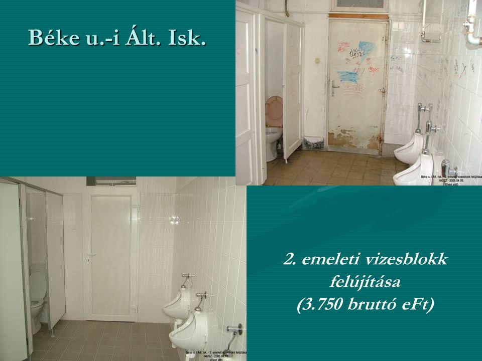 Béke u.-i Ált. Isk. 2. emeleti vizesblokk felújítása (3.750 bruttó eFt)