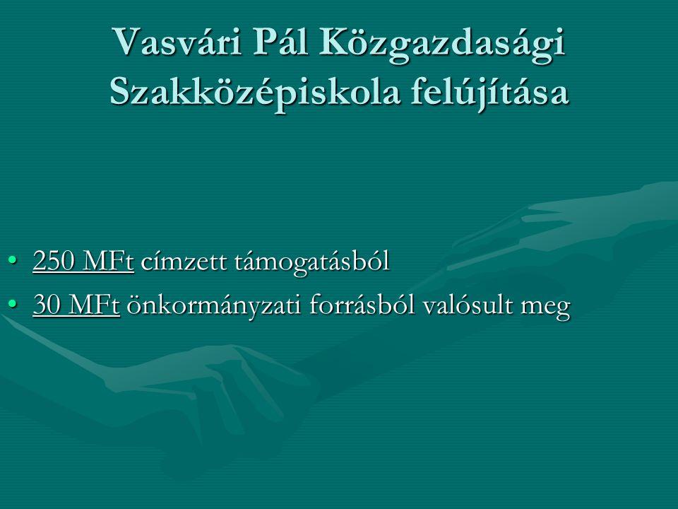 Vasvári Pál Közgazdasági Szakközépiskola felújítása 250 MFt címzett támogatásból250 MFt címzett támogatásból 30 MFt önkormányzati forrásból valósult meg30 MFt önkormányzati forrásból valósult meg