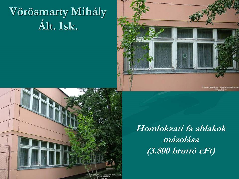 Vörösmarty Mihály Ált. Isk. Homlokzati fa ablakok mázolása (3.800 bruttó eFt)