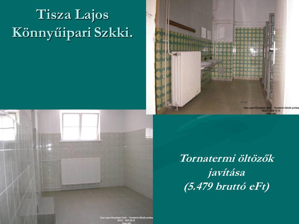 Tisza Lajos Könnyűipari Szkki. Tornatermi öltözők javítása (5.479 bruttó eFt)