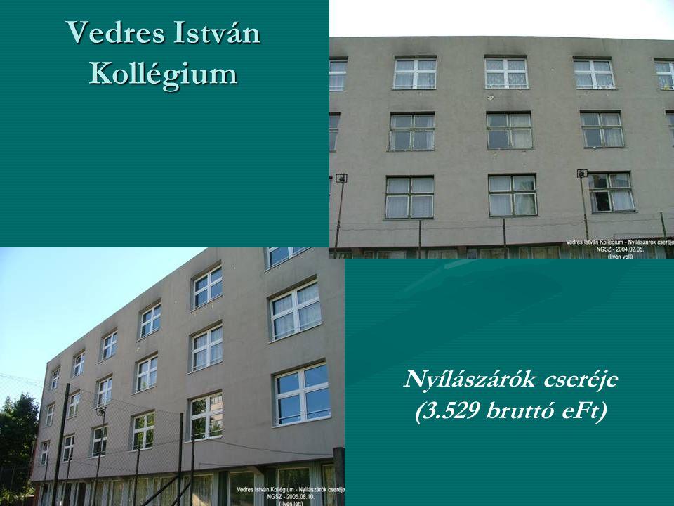 Vedres István Kollégium Nyílászárók cseréje (3.529 bruttó eFt)