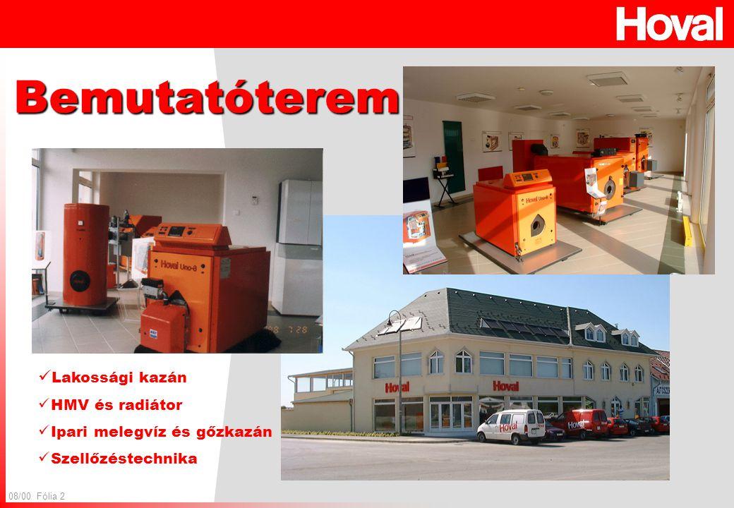 08/00 Fólia 2 Bemutatóterem Lakossági kazán HMV és radiátor Ipari melegvíz és gőzkazán Szellőzéstechnika
