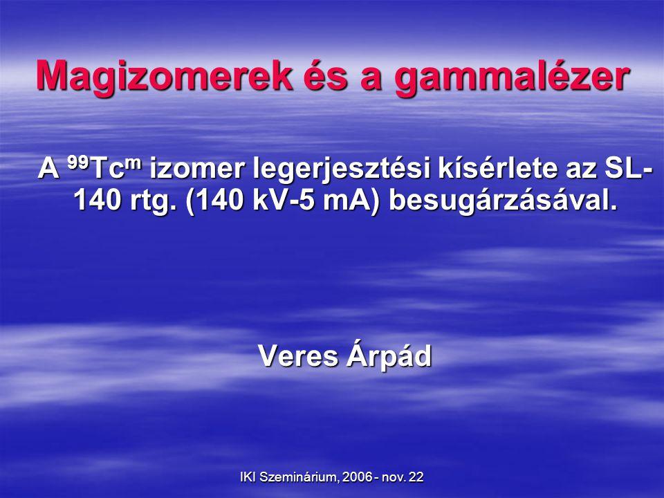 IKI Szeminárium, 2006 - nov.22 Az atommagizomerek kronológiája 1921.