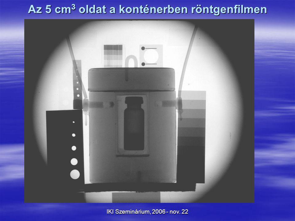 IKI Szeminárium, 2006 - nov. 22 Az 5 cm 3 oldat a konténerben röntgenfilmen