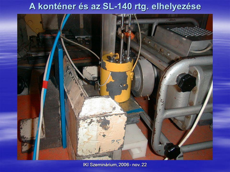 IKI Szeminárium, 2006 - nov. 22 A konténer és az SL-140 rtg. elhelyezése