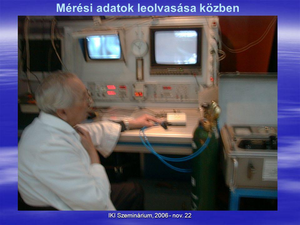 IKI Szeminárium, 2006 - nov. 22 Mérési adatok leolvasása közben