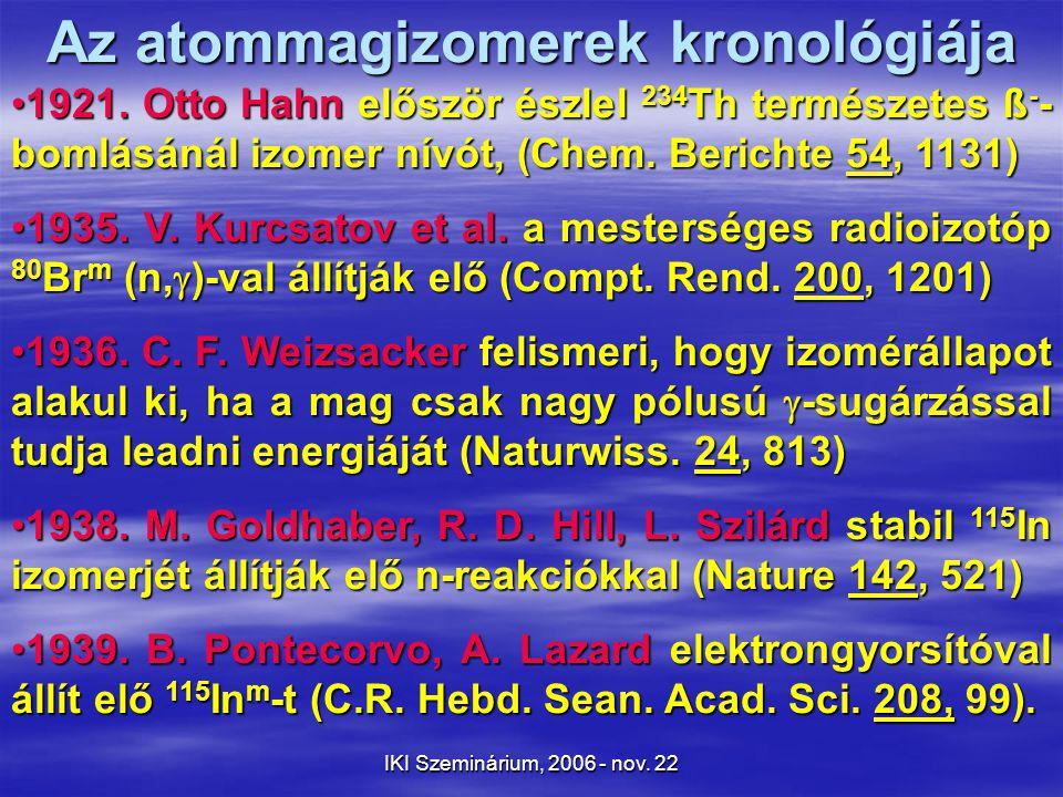 IKI Szeminárium, 2006 - nov. 22 Az atommagizomerek kronológiája 1921.