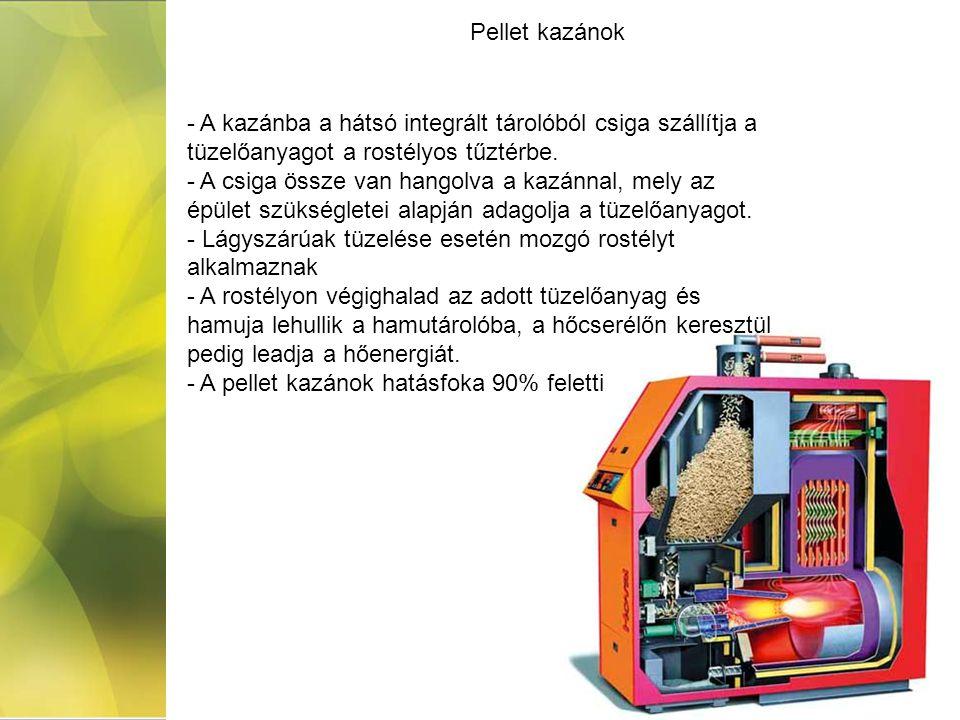 Pellet kazánok - A kazánba a hátsó integrált tárolóból csiga szállítja a tüzelőanyagot a rostélyos tűztérbe. - A csiga össze van hangolva a kazánnal,