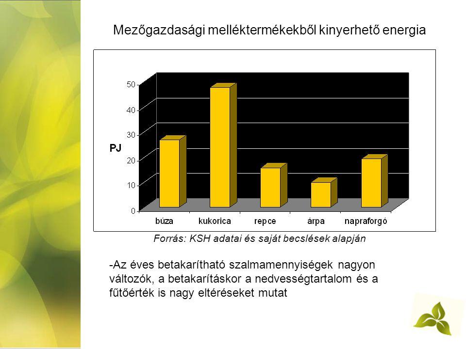 Mezőgazdasági melléktermékekből kinyerhető energia Forrás: KSH adatai és saját becslések alapján -Az éves betakarítható szalmamennyiségek nagyon változók, a betakarításkor a nedvességtartalom és a fűtőérték is nagy eltéréseket mutat