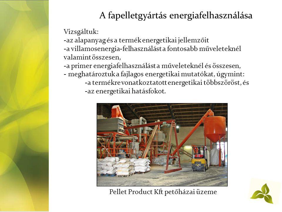 A fapelletgyártás energiafelhasználása Vizsgáltuk: -az alapanyag és a termék energetikai jellemzőit -a villamosenergia-felhasználást a fontosabb műveleteknél valamint összesen, -a primer energiafelhasználást a műveleteknél és összesen, - meghatároztuk a fajlagos energetikai mutatókat, úgymint: -a termékre vonatkoztatott energetikai többszöröst, és -az energetikai hatásfokot.