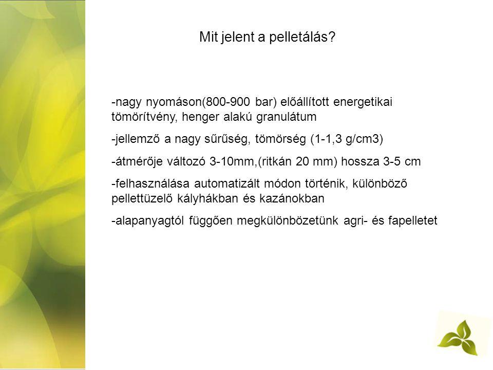 Mit jelent a pelletálás? -nagy nyomáson(800-900 bar) előállított energetikai tömörítvény, henger alakú granulátum -jellemző a nagy sűrűség, tömörség (