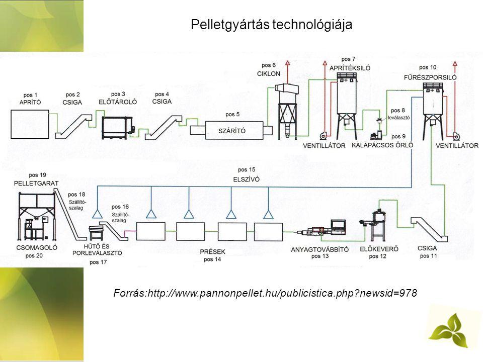 Pelletgyártás technológiája Forrás:http://www.pannonpellet.hu/publicistica.php?newsid=978