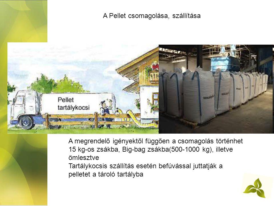 A Pellet csomagolása, szállítása A megrendelő igényektől függően a csomagolás történhet 15 kg-os zsákba, Big-bag zsákba(500-1000 kg), illetve ömlesztve Tartálykocsis szállítás esetén befúvással juttatják a pelletet a tároló tartályba