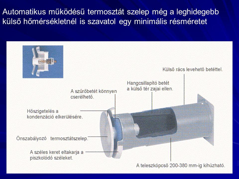 Automatikus működésű termosztát szelep még a leghidegebb külső hőmérsékletnél is szavatol egy minimális résméretet