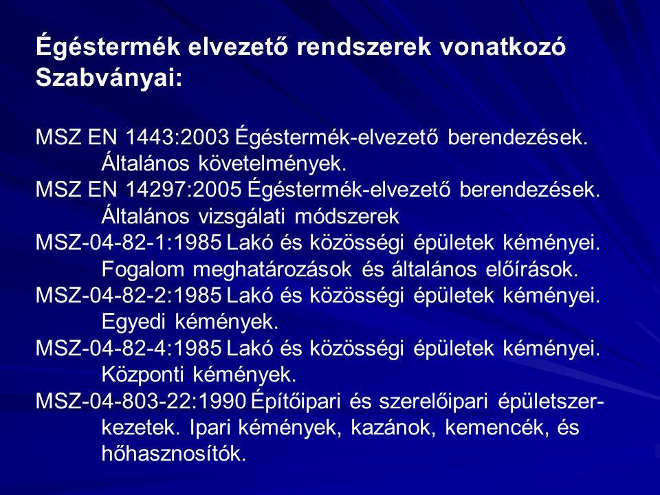 Égéstermék elvezető rendszerek vonatkozó Szabványai: MSZ EN 1443:2003 Égéstermék-elvezető berendezések.