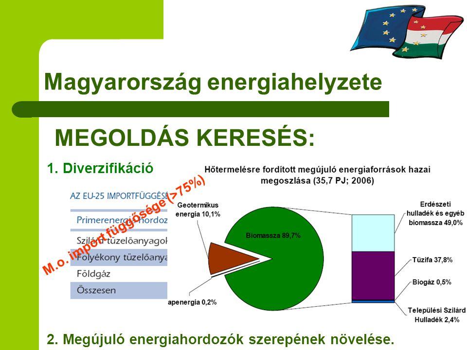Magyarország energiahelyzete MEGOLDÁS KERESÉS: 2. Megújuló energiahordozók szerepének növelése. 1. Diverzifikáció M.o. import függősége (>75%)