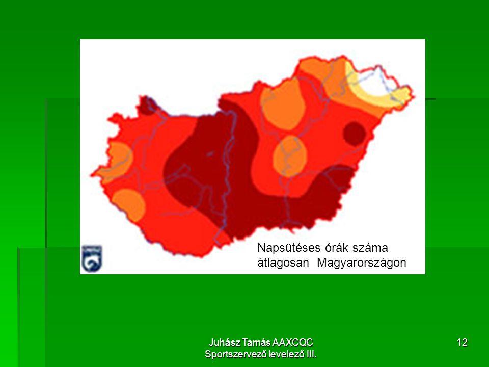 Juhász Tamás AAXCQC Sportszervező levelező III. 12 Napsütéses órák száma átlagosan Magyarországon