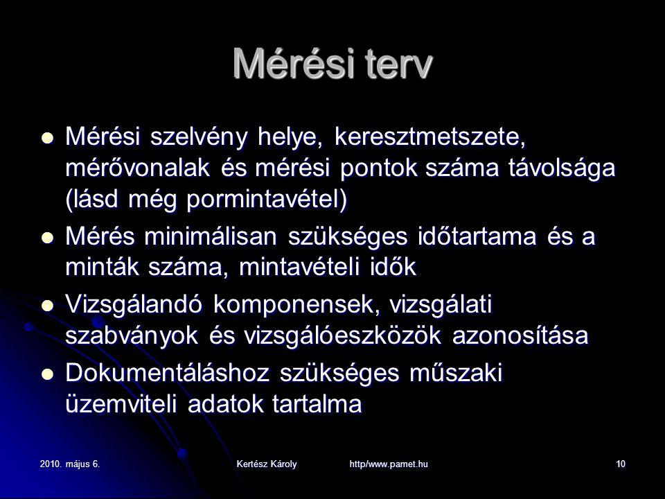 2010. május 6.Kertész Károly http/www.pamet.hu10 Mérési terv Mérési szelvény helye, keresztmetszete, mérővonalak és mérési pontok száma távolsága (lás
