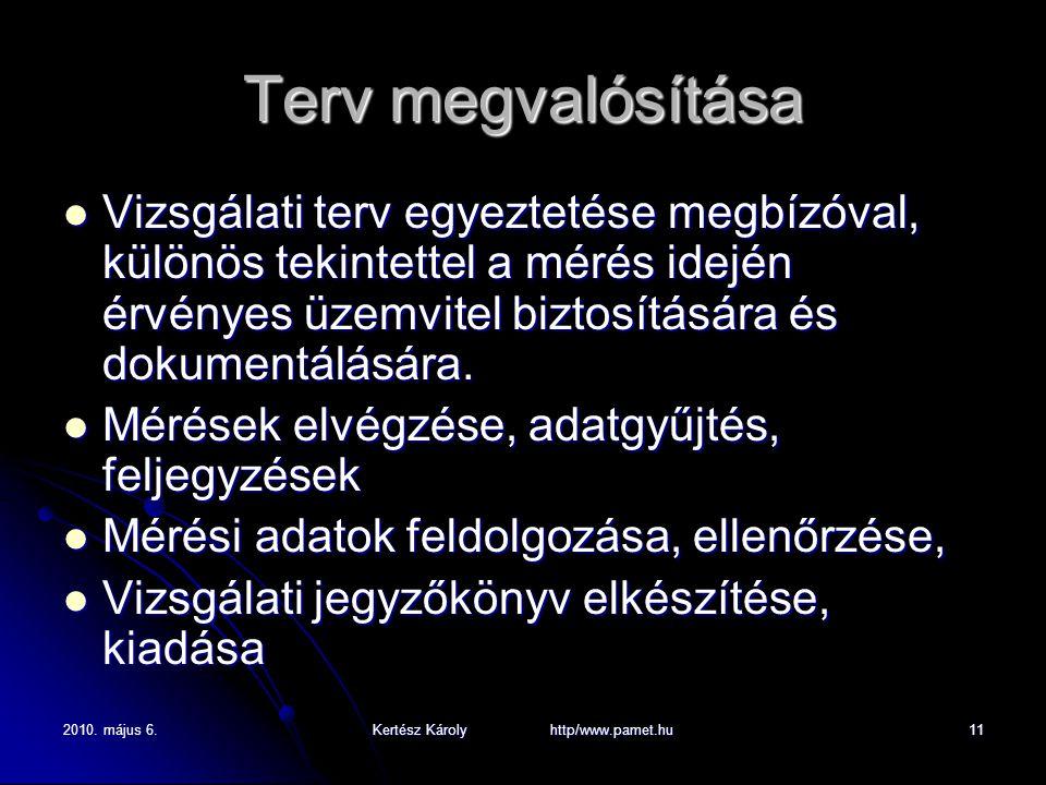 2010. május 6.Kertész Károly http/www.pamet.hu11 Terv megvalósítása Vizsgálati terv egyeztetése megbízóval, különös tekintettel a mérés idején érvénye