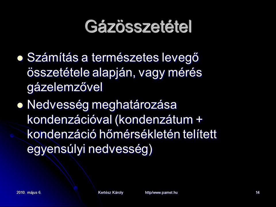 2010. május 6.Kertész Károly http/www.pamet.hu14 Gázösszetétel Számítás a természetes levegő összetétele alapján, vagy mérés gázelemzővel Számítás a t