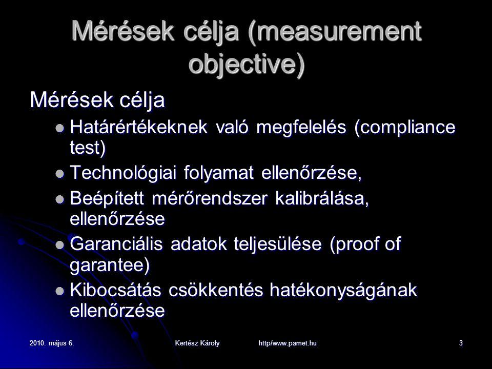 2010. május 6.Kertész Károly http/www.pamet.hu3 Mérések célja (measurement objective) Mérések célja Határértékeknek való megfelelés (compliance test)