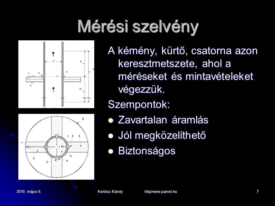 2010. május 6.Kertész Károly http/www.pamet.hu7 Mérési szelvény A kémény, kürtő, csatorna azon keresztmetszete, ahol a méréseket és mintavételeket vég