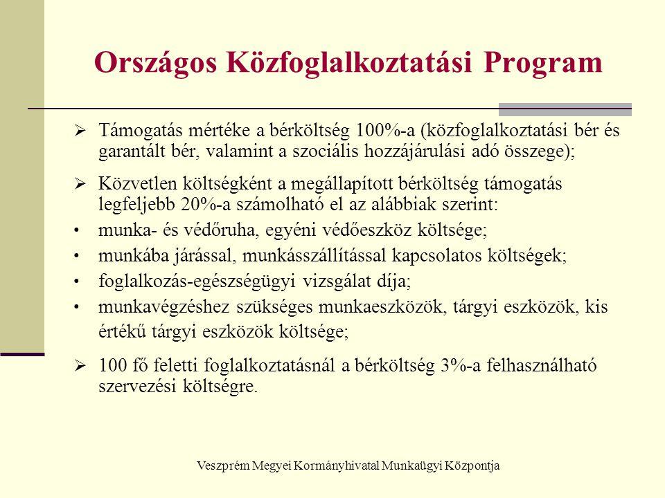 Veszprém Megyei Kormányhivatal Munkaügyi Központja Országos Közfoglalkoztatási Program  Támogatás mértéke a bérköltség 100%-a (közfoglalkoztatási bér